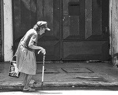 Biscuits (Beegee49) Tags: street elderly lady carrying walking stick cane bacolod city philippines