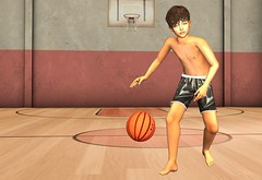 Mike as a basketball player (2) (mikebastlir) Tags: basketball ball boy child kid children secondlife virtual world game sport improve jump player gym dribbling