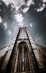 Sint-Walburgastraat, Oudenaarde, Belgium (2Colnagos) Tags: tower belgium europe sky clouds dark dreamlike focus drawn