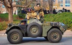 Former British Army Daimler Ferret Mk 2 turreted scout car 05CC53 - Brampton, Ontario. (edk7) Tags: olympuspenliteepl5 edk7 2016 canada ontario peelregion brampton fourcorners britisharmy daimlerferretmk2 armouredcar scoutcar british armouredreconnaissancefightingvehicle 195271 registrationnumber05cc53 mechanical machine military vehicle car turret machinegun camouflage coldwar disturbances person male uniform reenactor remembranceday