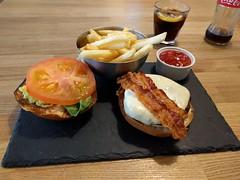 Technically Breakfast (EC1 Matt) Tags: burger chips pancetta cheese hamholyburger hamburger slate ketchup