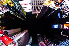 TIMES SQUARE, LOOKING UP. (Domenico Cirillo) Tags: newyork timessquare canon eos fisheye 8mm bigapple