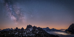 Dolomites (Bastian.K) Tags: sterne italien voigtlander astro astrophotography milky milkyway milchstrase 35mm 17 5m 5000mm pcx high iso sony a7s dolomiten fog nebel tal valley sky heaven mountain mountains rock rocks panorama