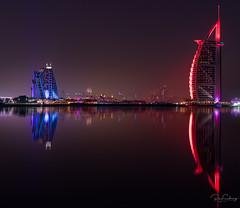 Burj al Arab and Jumeirah Beach hotel at sunset (Siebring Photo Art) Tags: burjalarab dubai dubaiskyline emirates jumeirah uae mirrorimage skyline sunset verenigdearabischeemiraten ae