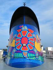 Ferry, Georgian Bay, Ontario, Canada (duaneschermerhorn) Tags: ferry boat ship bay lake water blue red yellow sky clouds white deck indigenousart nativecanadianart firstnationsart
