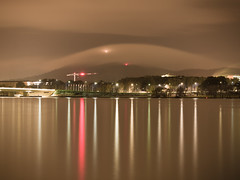 Reflections on the Lake and Low Cloud on Mount Ainslie - Barton - ACT - Australia - 20180609 @ 05:12 (MomentsForZen) Tags: barton australiancapitalterritory australia au momentsforzen mfz hasselblad x1d color reflections lake lakeburleygriffin longexposure sky night cloud crane lights