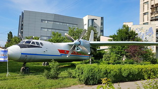 Antonov An.24V c/n 57302107 registration YR-AMX preserved in front of the Technical School in Craiova, Romania