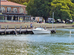 """20 April 2018 - View from our tour boat MV """"JAMES STIRLING"""" towards the Old Swan Brewery jetty & Riverside Brewhouse restaurant on Mounts Bay Rd at Kings Park, Perth, Western Australia (aussiejeff) Tags: 2018 perth westernaustralia australia wa aussiejeff jeffc panasonic dmc lz2 lumix swanriver river boat mv jamesstirling kingspark mountsbay foreshore"""