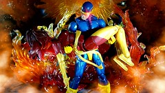 Phoenix burnt-out (custombase) Tags: xmen marvellegends jeangrey scottsummers darkphoenix cyclops figures dark phoenix fire effects toyphotography