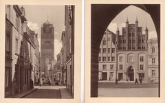 Stralsund anno (Ferencdiak) Tags: hanseatic town germany street tower people 20th century xx stralsund wulflamhouse church