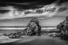Black Humphrey Rock, Whipsiderry Beach (Mick Blakey) Tags: blackhumphreyrock whipsiderrybeach beach blackwhite boulders cliffs clouds coast coastpath coastsurf coastal contrast cornish cornwall monochrome moody receding rocks rocky sand sea seascape seashore shadows shoreline surf tide waves