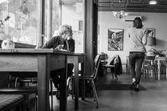 MjP Photography-5.jpg (Mark Pr1ce) Tags: norway andalsners blackwhite people looking walking coffeeshop street streetphotography olympus penf tables chairs