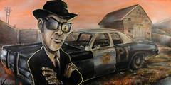 """Reunited"" (Dennis Valente) Tags: bluesbrothers johnbelushi danaykroyd jolietstateprison sunglasses reflection painting art canvas joliet chicago illinois seattle pnw 5dsr 32bit hdr isobracketing usa"