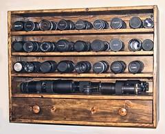 Lens & Gear Storage (Steve InMichigan) Tags: lenscabinet lensrack lensshelf vintagelenses vintageglass legacymanuallenses legacylenses vintagemanuallenses digitallenses canoneosrebelt5i panasoniclumixdmcgf3