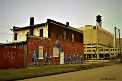 They work hard for the money (SCOTTS WORLD) Tags: adventure abandoned america architecture angle artwork city sky fun michigan motown midwest motorcity manufacturing march 2018 panasonic pov perspective outdoors outside urban usa unitedstates urbex urbanexploring urbanart mural factory windows weathered water watertower brick building green grass graffiti fence winter