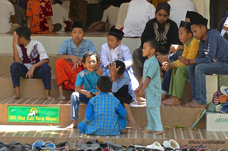 Boys during friday prayer, great Mosque - Mesjid Jamik, Sumenep, Madura