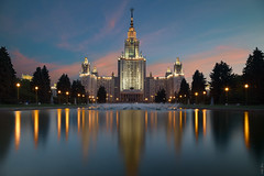 RUS67537 - Moscow University (rusTsky) Tags: architecture skyline reflection moscow sight bluehour old fountain canon eos5d longexposure university