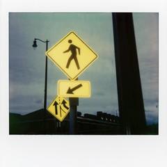 Polaroid - signs img688 (T. Brian Hager) Tags: polaroid polaroidspectra polaroidoriginals instant instantfilm film analog color scanned signs streetsigns walk arrows epsonv600 epson bethlehempa