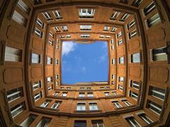 Coeur de Rose (ANOZER Photograffist) Tags: architecture building under anozer anozercreation red rouge immeuble cour windows sky ciel blue bleu archi perspective
