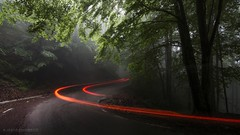 Driving... (ChusPS) Tags: nature color light lights foret forest bosc bosque catalunya catalonia barcelona fogarsdemontclús vallèsoriental santafedelmontseny montseny unesco unescomab spring nikon tokina selftimer car longexposure photography