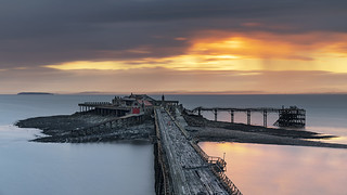 The Ruins of Birnbeck Pier at Sunset, Weston-super-Mare, North Somerset