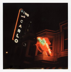 Golden Boy Pizza Neon (tobysx70) Tags: polaroid originals color 600 instant film slr680 golden boy pizza green street north beach san francisco california ca finger pointing neon sign lit illuminated night nocturnal gino and carlo pizzeria italian restaurant little italy red white polavacation 042618 toby hancock photography