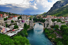 Mostar, View from the Minaret (Jocelyn777) Tags: landscape cityscape cityviews mountains clouds foliage towns historictowns bridges monuments oldbridge starimost mostar bosniaandherzegovina balkans travel
