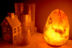 Warm Home (StevePilbrow) Tags: himalayan salt lamp candle holders tealight marble table warm glow light orange nikon d7200 nikkor 28mm 28