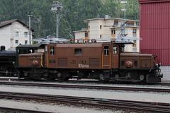 Rhätische Bahn RhB Lokomotive Ge 6/6 I 414 ( Rhätisches Krokodil - Baujahr 1929 - Hersteller SLM Nr. 3297 - BBC MFO - Elektrolokomotive Triebfahrzeug Stangenantrieb ) am Bahnhof Samedan - Samaden im Engadin im Kanton Graubünden - Grischun der Schweiz (chrchr_75) Tags: albumzzz201806juni juni 2018 hurni christoph schweiz suisse switzerland svizzera suissa swiss chrchr chrchr75 chrigu chriguhurni chriguhurnibluemailch albumbahnenderschweiz albumbahnenderschweiz20180106schweizer bahnen bahn eisenbahn train treno zug fest eisenbahnfest festival 10 jahre unesco welterbe juna zoug trainen tog tren поезд lokomotive паровоз locomotora lok lokomotiv locomotief locomotiva locomotive railway rautatie chemin de fer ferrovia 鉄道 spoorweg железнодорожный centralstation ferroviaria kanton graubünden grischun rhb rhätische meterspur schmalspur bergbahn retica viafier kantongraubünden