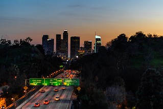 Sunset Shot Overview Of The 110S Freeway And DTLA