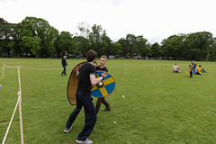 Historia Normannis Meadows June 2018-621 (Philip Gillespie) Tags: historia normannis central scotland sparring fighting shields swords axes spears park grass canon 5dsr men man women woman kids boys girls arms feet hands faces heads legs shins running outdoor tabards chain mail chainmail helmets hats glasses sun clouds sky teams solo dead act acting colour color blue green red yellow orange white black hair practice open tutorial defending attacking volunteer amateur kneeling fallen down jumping pretty athletic activity hit punch