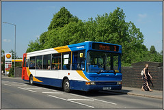34816, Hillmorton Road (Jason 87030) Tags: bridge railway road hillmorton stagecoach dennis dart midlands slf pointer red white blue orange 3 service route woman girl scene light sunny may 2018 bricks px06dwa 34816 session buses