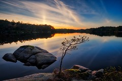 Calm water, Norway (Vest der ute) Tags: xt2 norway rogaland røyksund water waterscape landscape lake stones rocks trees tree reflections mirror sky clouds sunset evening serene fav25 fav200