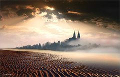 Ondulations (Jean-Michel Priaux) Tags: church abbey graphic sun sunset river paint painting paintingmatte paintmapping mattepainting shadow shadows geometry lines line ondulation photoshop sky clouds