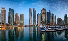 Dubai Marina at sunrise (Siebring Photography) Tags: cayantower dubai dubaimarina dubaiskyline emirates uae mirrorimage skyline sunrise sunset verenigdearabischeemiraten ae