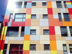 Colourful Leeds building (Tony Worrall) Tags: britain english british gb capture buy stock sell sale outside outdoors caught photo shoot shot picture captured city england regional region area northern uk update place location north visit county attraction open stream tour country welovethenorth leeds yorkshire yorks architecture building wall color colours colourful blocks geometric abstract pattern texture symmetry minimalism diagonal surreal serene depthoffield