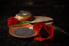 Tom Pitta 850_4214-Edit-1 (TomPitta) Tags: still life moody dark poppies bagels seeds drugs
