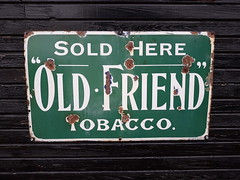 Old Friend tobacco sign (DorsetBelle) Tags: oldfriendtobacco signs railwayana vitreousenamelsigns enamelsigns eastanglianrailwaymuseum essex advertisingsigns advertising