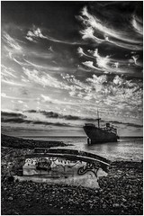 Scupper bay, in mono. (waynedavey67) Tags: canon canoneos5dmkiii 5dmkiii 1635mmlf4 tripod leefilters wonderfulwaterandlandscapes landscape landmark landscapeswithanunlimitedbeautyl breathtakinglandscapesl breathtakinglandscapes landscapedreams waterscape seascape seaview ship boat rust sunk scuppered shipwreck skyscape sky clouds beach
