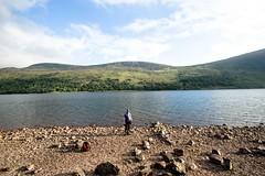 Posing in the landscape (allybeag) Tags: ennerdalewoods cumbria lakedistrict ennerdale steve lakeside beach stony water lake rocks stones