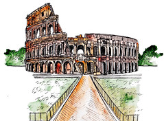 Architecture sketch. Roman Colosseum. Watercolor imitating painted sketch. Travel sketchbook architecture drawing. Vintage sketch. (literaem) Tags: background business fashion design hand icon retro silhouette house vintage book banner art architecture building coliseum drawing europe famous illustration italy landmark rome sketch travel amphitheater ancient antique arena capital culture historic italian monument national roma roman ruin symbol tourism attraction city graphic old gladiator history isolated traditional editorial