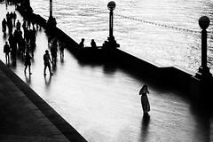 """in-box"" (helmet13) Tags: d800e raw bw london queenswalk riverwalk riverthames promenade people silhouettes woman peaceful lamp aoi peaceawards"