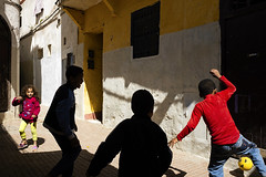 alley ball (Mark Panszky) Tags: kids playing soccer football ball shadows alley morocco rabat africa