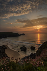 Polly Joke at sunset (jebob) Tags: cornwall porthjoke beach uk sunset sundown cliffs thrift southwest jebob landscape outdoors nature clouds sky sun sand rocks atlantic waves water tide grass rays