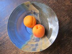 new shape (Ladybadtiming) Tags: pottery ceramics imadethis apricot blue grey brown glaze wood bichro plate fruit