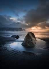 Standing Ground (KasparsDz) Tags: iceland landscape vestrahorn stokksnes sunset rock ocean sea nature travel explore dzenis photo reflection clouds tide dusk outside tamron flickr air low angle wide nikon d810 beauty stunning captivating wunderlust exploring