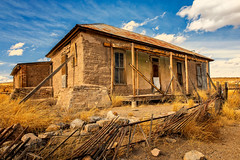 Hang On (KPortin) Tags: ghosttown lakevalleynm newmexico abandoned abandonedhouse fence deteriorated derelict hff