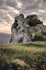 Sicily: Caltabellota Rock Formation. (icarium.imagery) Tags: agrigento caltabellota captureone hillside italia italy landscape meadows moody mountains rockformation rocks rural sicilia sicily sigma24105mmf4dgoshsmart sunrise travel triocala village sundaylights