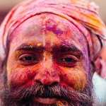 Colorful Man's Face, Holi in Vrindavan India thumbnail