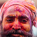 Colorful Man's Face, Holi in Vrindavan India